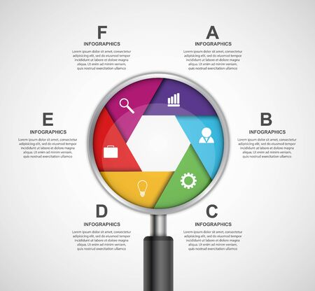 magnifying glass: Abstract infographic with a magnifying glass. Vector illustration.