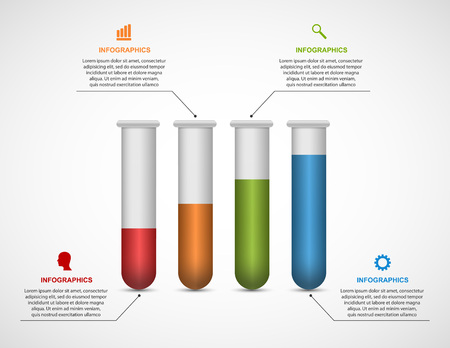 medicine infographic: Modern infographic on science and medicine in the form of test tubes.