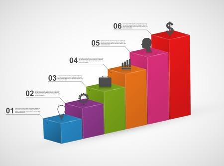 graficos de barras: Gr�fica de barras. 3D plantilla de dise�o infograf�as coloridas. Vectores