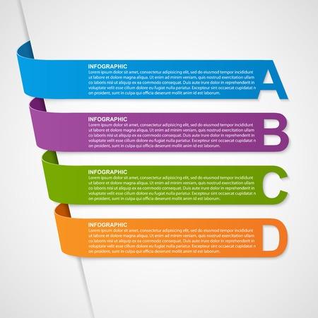 papel de notas: Extracto colorido de las cintas en 3D Infograf�a. Elemento de dise�o. Vectores