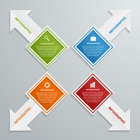 Vector abstract paper arrows infographic design template.