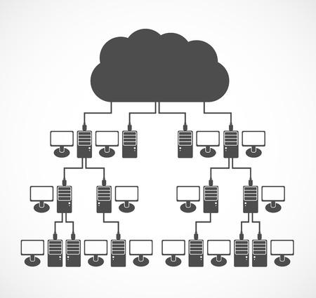 computer network concept: Vector computer network concept. Modern design template.