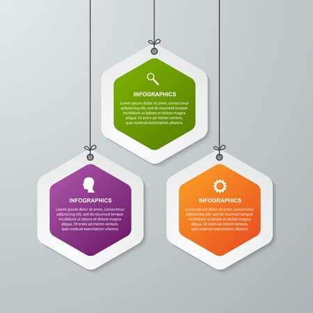 template: Abstract 3D hexagon business options infographics template. Illustration