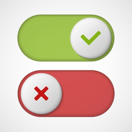 On off 3d switches sliders with red and green color. With On And Off. Vector illustration  イラスト・ベクター素材