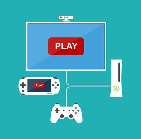 key pad: Flat design computer games concept. Game development. Various devices. Design elements. Illustration
