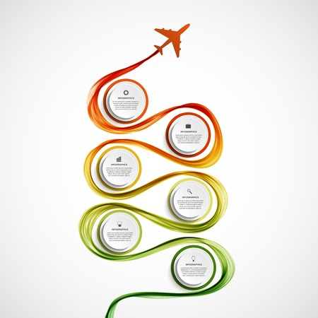 turismo: Estratto aereo infografica e onda un fumo colorato. Illustrazione vettoriale. Vettoriali