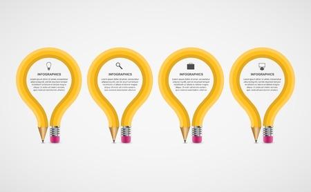 教育: 教育鉛筆選項信息圖表設計模板