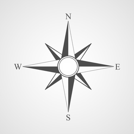 rose: Vector black compass icon.