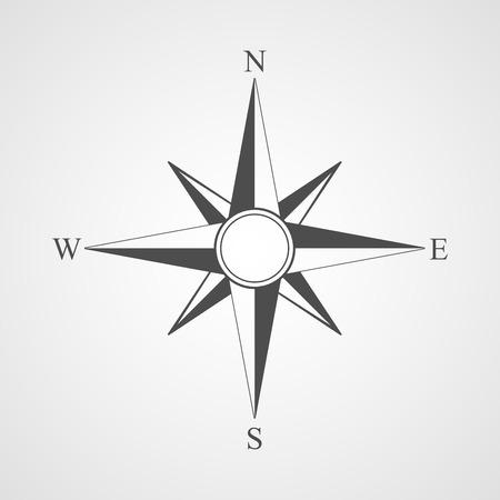 brujula: Vector icono negro brújula.