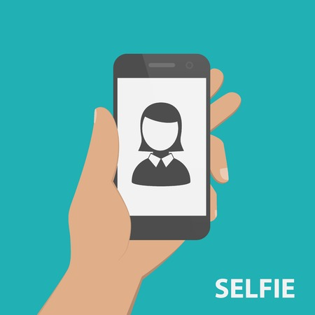 Taking a self portrait with smartphone. Flat design. Stock Illustratie