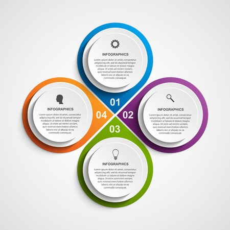 results: Abstract business options infographics template. Illustration