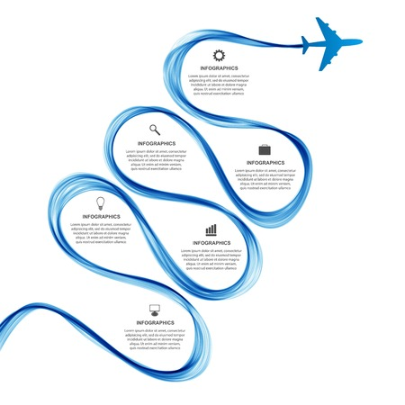 Abstract infographic airplane and wave a blue smoke. Vector illustration.
