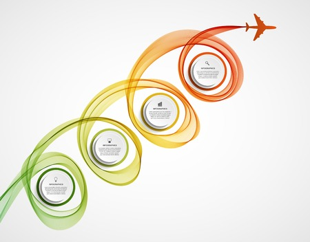colored smoke: Abstract infographic airplane and wave a colored smoke. Vector illustration.