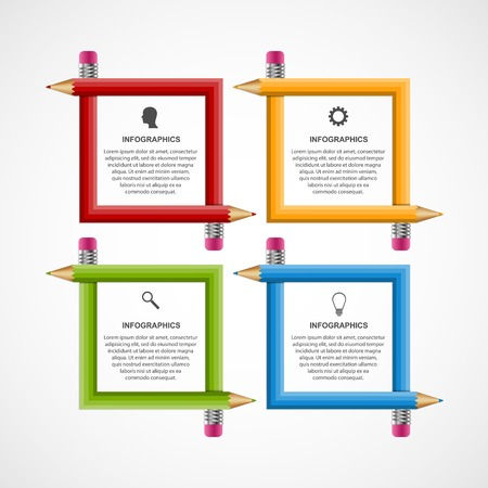 Education icon: Abstract education pencil option Infographics design template. Illustration