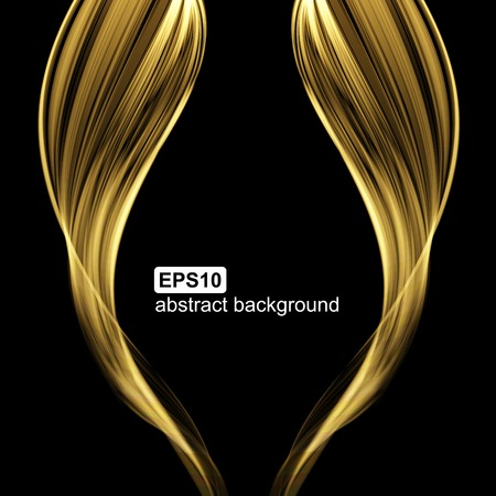 golden: Abstract light wave futuristic background. Vector illustration.