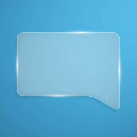 chat box: Abstract shiny glass banner. Transparent chat box. Vector illustration.