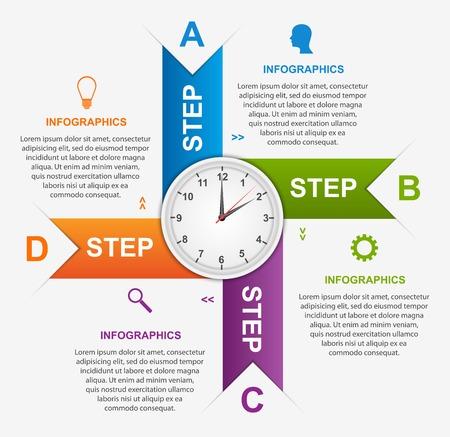 Abstracte infographic met kleurrijke pijlen en klok in het midden. Ontwerpsjabloon. Stock Illustratie