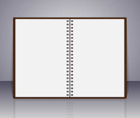 open notebook: Vector open blank notebook and reminder note. Illustration
