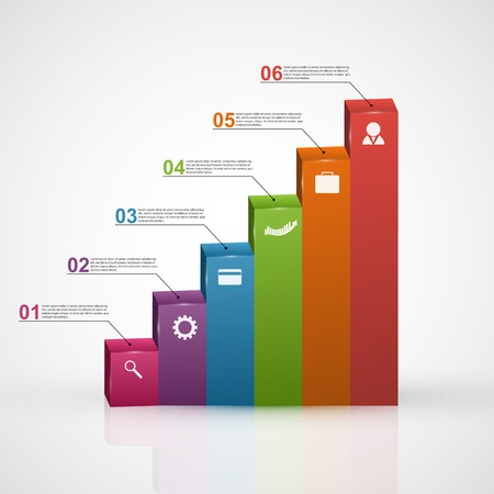 geometric design: 3D chart style infographic design template. Illustration