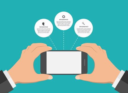 graphic tablet: Modern design infographic with mobile phone. Vector illustration.