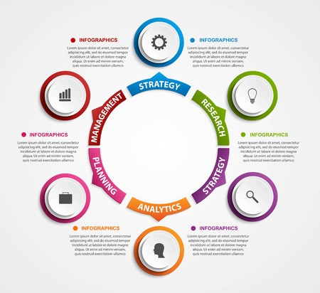 3d circle: Modern infographics options banner. Vector illustration.