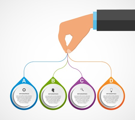 Abstract infographics design template with human hands holding the round blocks. Vector illustration.