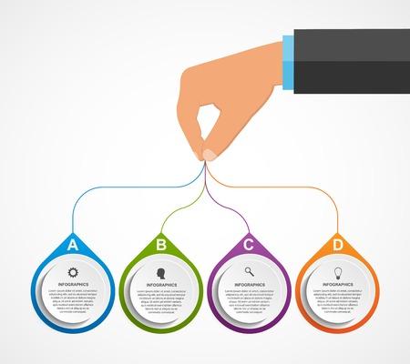 Abstract infographics ontwerpsjabloon met de handen die de ronde blokken. Vector illustratie. Stock Illustratie