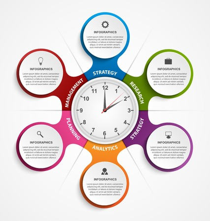 metabolic: Abstract infographic in the form of metabolic and clock in the centre. Design elements. Illustration
