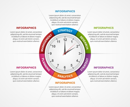 information design: Abstract infographic with clock in the centre. Design template.