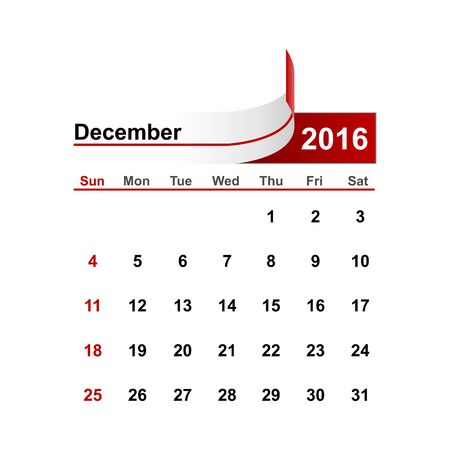 december: Vector simple calendar 2016 year december month. Illustration