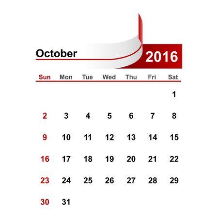 october: Vector simple calendar 2016 year october month. Illustration