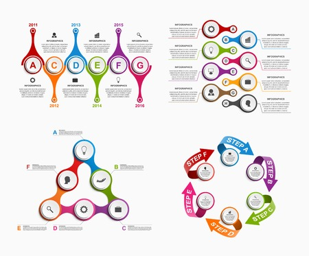 metabolic: Set colorful infographics in the form of metabolic. Design elements.
