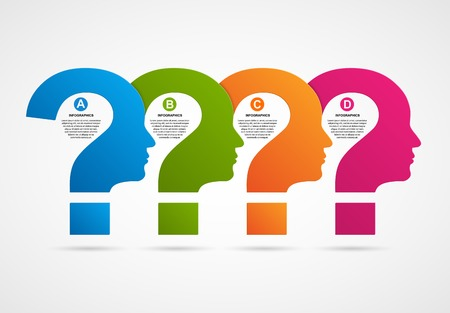 question concept: Vector infographic template business silhouette head. Illustration