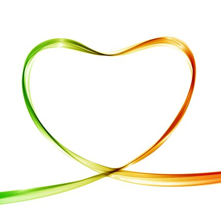 heart: Heart from colorful waves. Abstract background. Vector illustration.