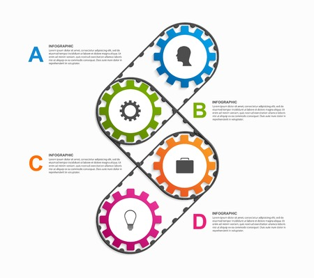 3d icons: Abstract gears infographic. Design element.