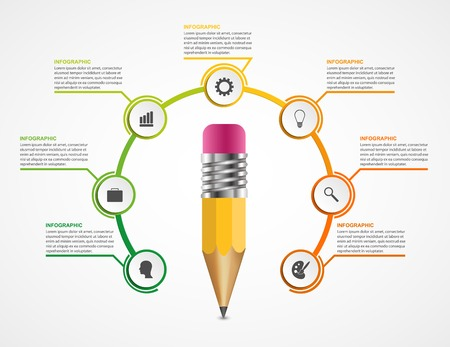 3d circle: Education pencil option Infographics design template. Illustration