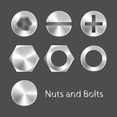 silver metal: Nuts and bolts