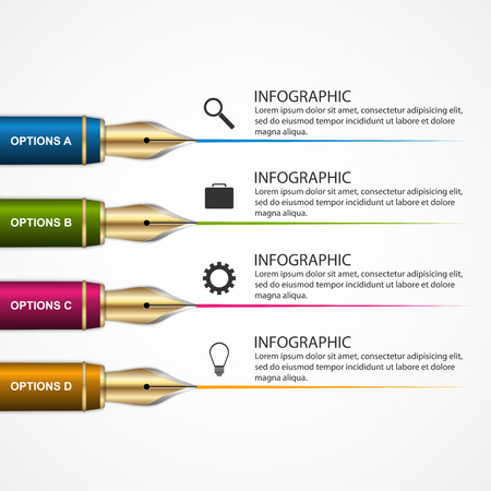 Business Infographic Design template with a pen. 3d education concept. Vector illustration.  イラスト・ベクター素材