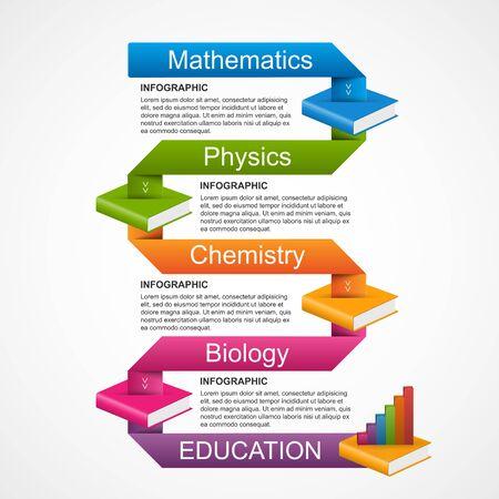 ribbon: Education books step option Infographics design template. Vector illustration.