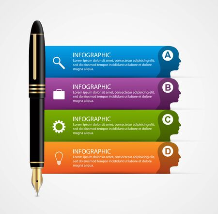 pen: Business infographic design template. Colored ink pens. Vector illustration.