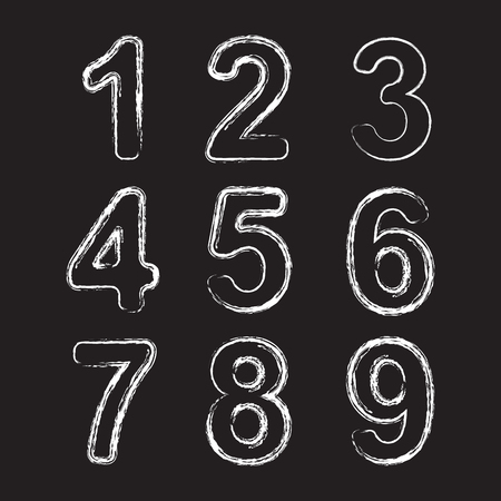 clip art numbers: Set Chalk Hand Drawing Number.