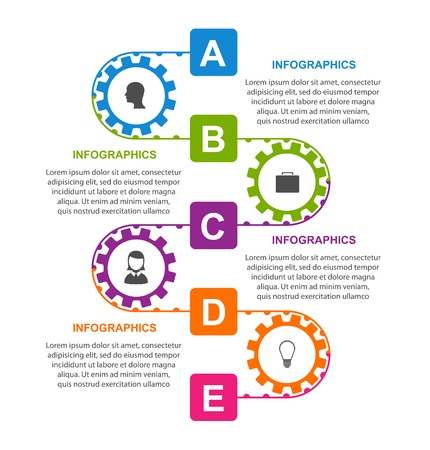 Flat infographic design template with colors gears