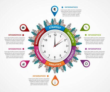turismo: Infografica estratto l'orologio al centro. Può essere usato per i siti web, la stampa, la presentazione, concetto di viaggio e turismo. Elementi di design.