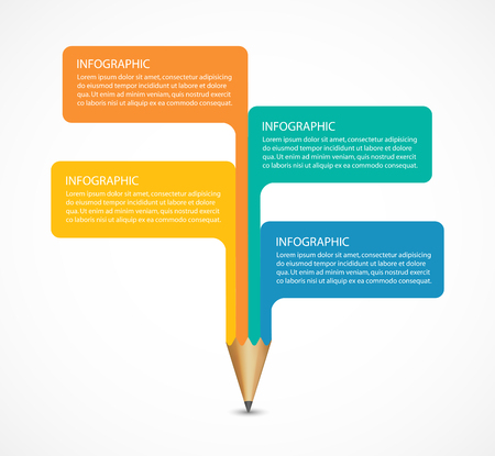 learning concept: Education pencil option Infographics design element. Illustration