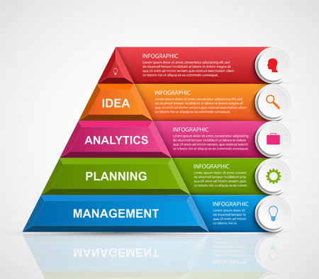 Abstract 3D pyramid options infographics template. Illustration