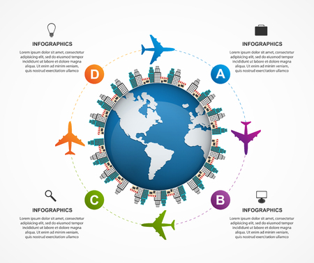 fly: Abstract global airplane infographics design template. Can be used for websites, print, presentation, travel and tourism concept.