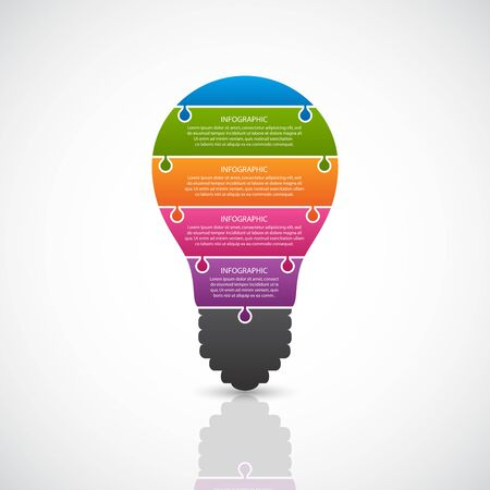 Abstract infographic light bulb banner. Vector illustration. Illustration