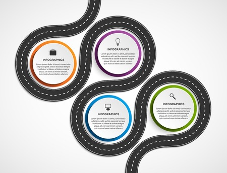 road line: Abstract Road And Street Business Infographic Design Concept. Vector Illustration.