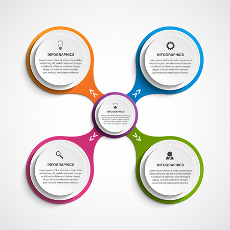 button icons: Abstract business options infographics template. Illustration