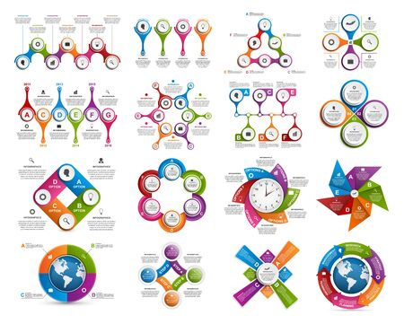 info graphic: Big collection of colorful infographics. Design elements. Illustration